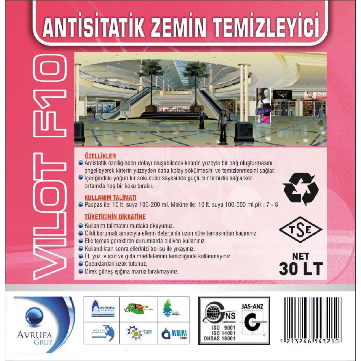 VILOT F10 Anti Statik Zemin Temizleme Ürünü 30 Litre