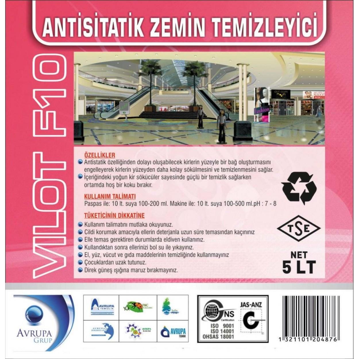 VILOT F10 Anti Statik Zemin Temizleme Ürünü 5 Litre
